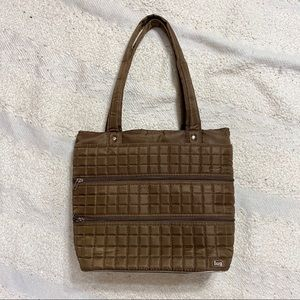Lug brown quilted large tote shoulder purse